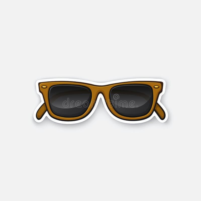 Αναδρομικά κέρατο-γυαλιά ηλίου γυαλιά αυτοκόλλητων ετικεττών απεικόνιση αποθεμάτων