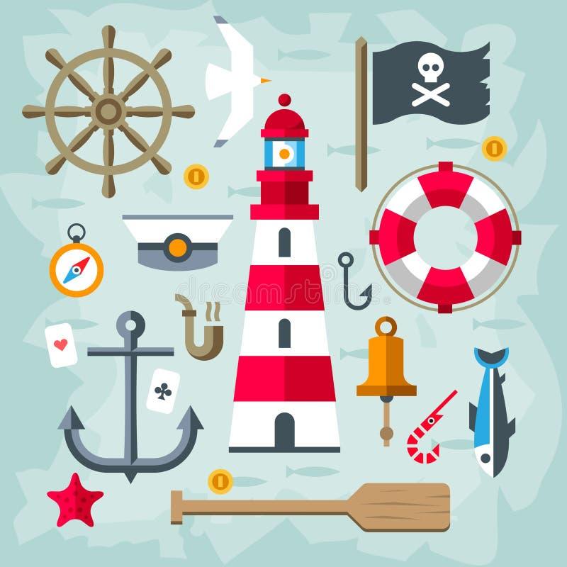 Αναδρομικά ναυτικά στοιχεία απεικόνιση αποθεμάτων