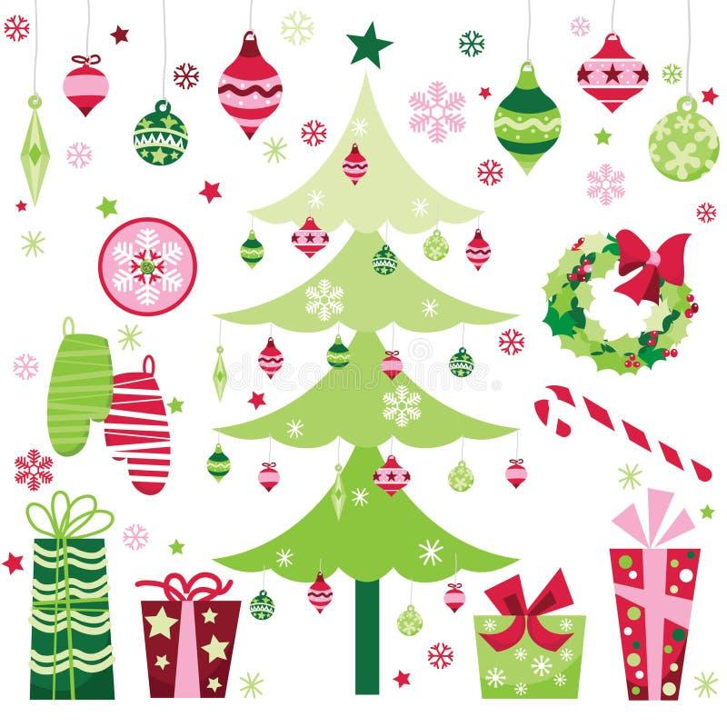 Αναδρομικά στοιχεία σχεδίου Χριστουγέννων διανυσματική απεικόνιση