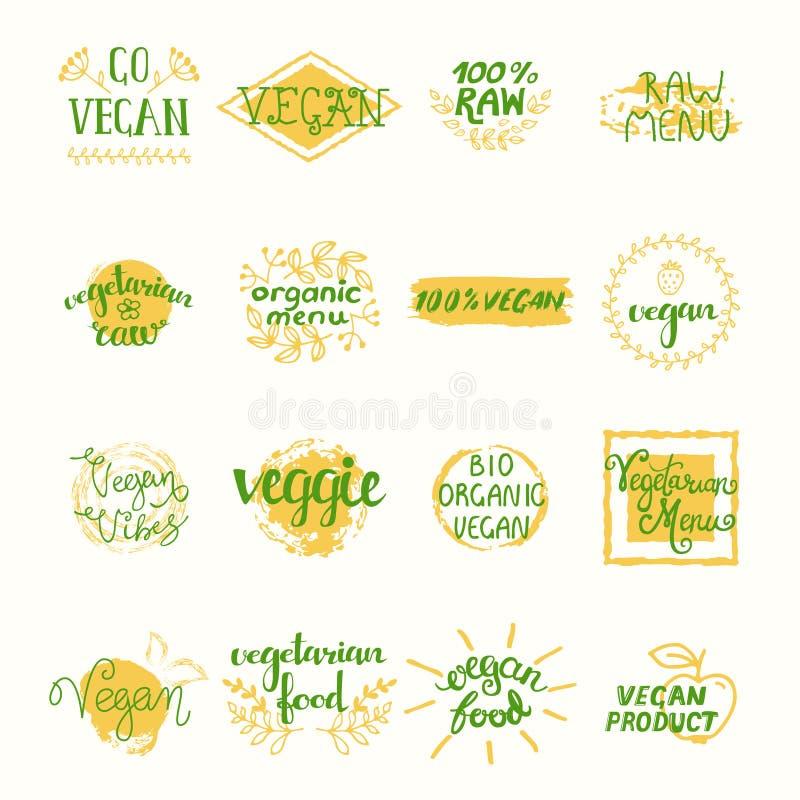 Αναδρομικά στοιχεία Vegan καθορισμένα διανυσματική απεικόνιση