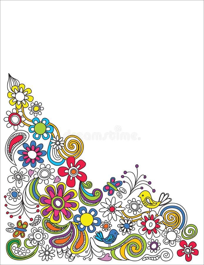 Αναδρομικά συρμένα χέρι floral σύνορα ελεύθερη απεικόνιση δικαιώματος