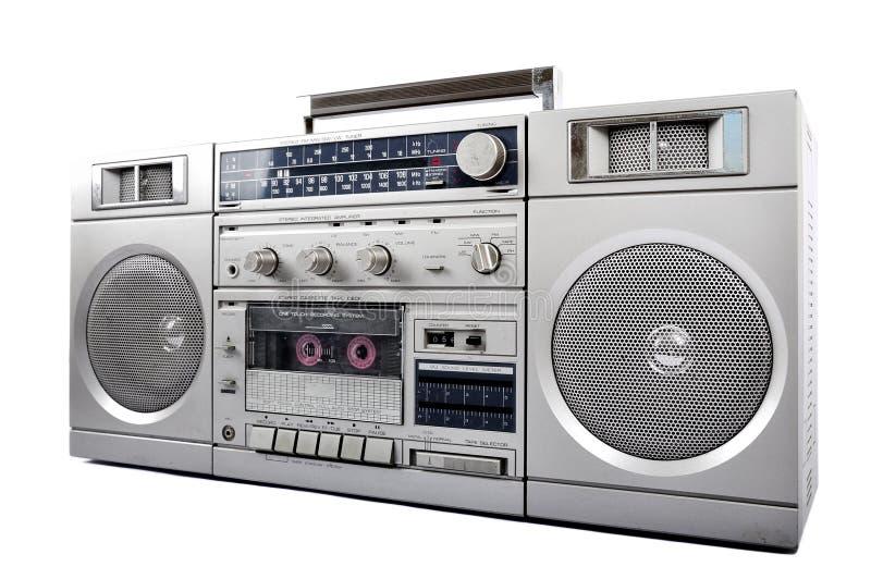 αναδρομικά της δεκαετίας του '80 ασημένια, κιβώτιο βραχιόνων και ακουστικό που απομονώνονται στο λευκό Δεξιά πλευρά στοκ εικόνες με δικαίωμα ελεύθερης χρήσης