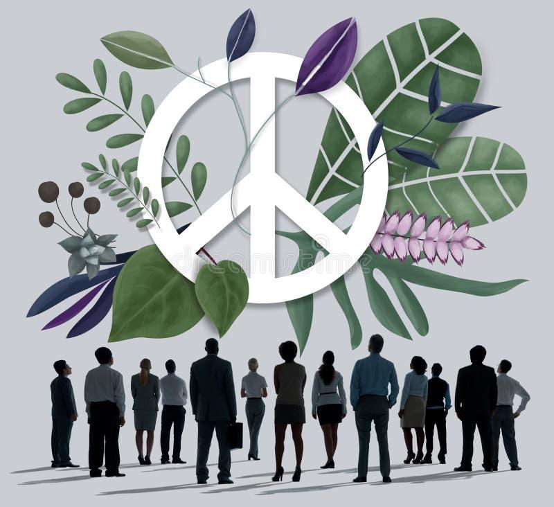 Αναδρομική έννοια αγάπης χίπηδων ειρήνης ευτυχής απεικόνιση αποθεμάτων