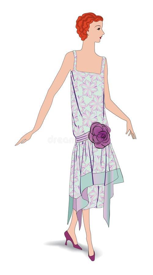 Αναδρομική απεικόνιση συμβαλλόμενων μερών μόδας. Ντυμένη Coctail γυναίκα απεικόνιση αποθεμάτων