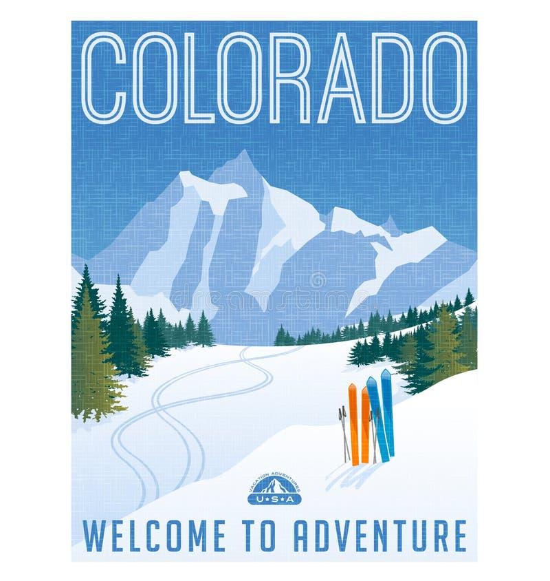 Αναδρομική αφίσα ή αυτοκόλλητη ετικέττα ταξιδιού ύφους Βουνά Ηνωμένων, Κολοράντο σκι ελεύθερη απεικόνιση δικαιώματος