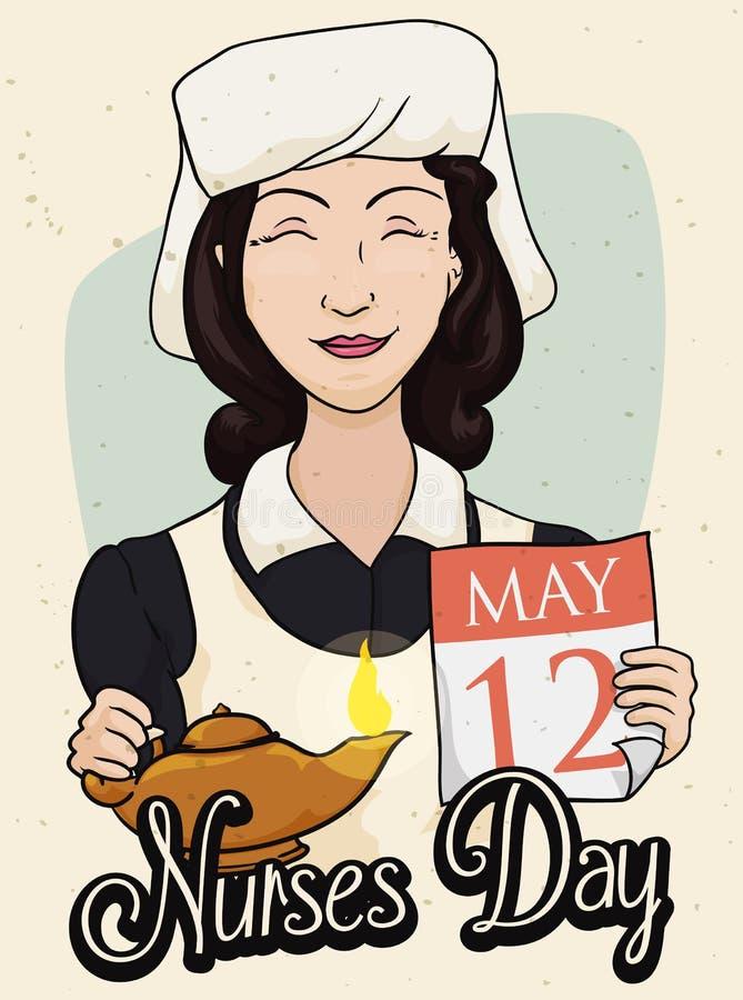 Αναδρομική αφίσα εορτασμού ημέρας περιποίησης με μια νοσοκόμα ομορφιάς, διανυσματική απεικόνιση ελεύθερη απεικόνιση δικαιώματος