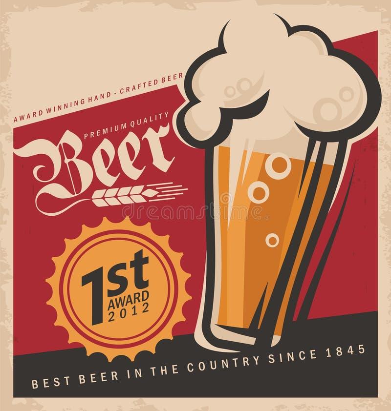 Αναδρομική αφίσα μπύρας ελεύθερη απεικόνιση δικαιώματος