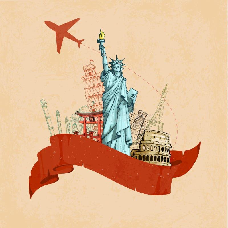 Αναδρομική αφίσα ταξιδιού απεικόνιση αποθεμάτων