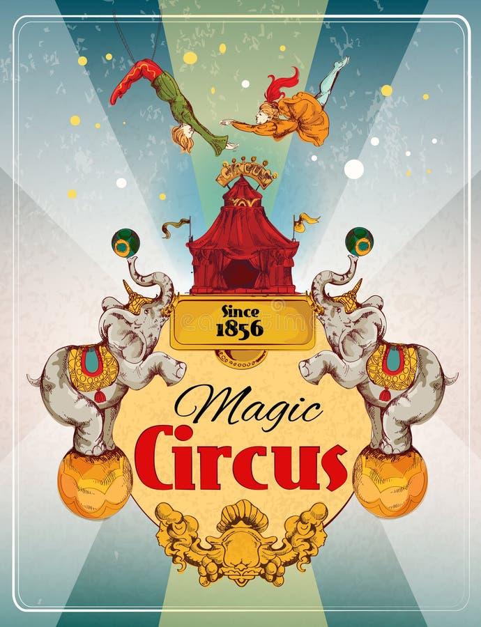 Αναδρομική αφίσα τσίρκων απεικόνιση αποθεμάτων