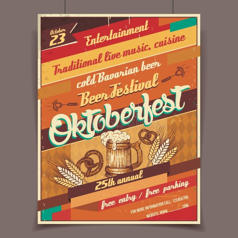 Αναδρομική αφίσα φεστιβάλ μπύρας Oktoberfest απεικόνιση αποθεμάτων
