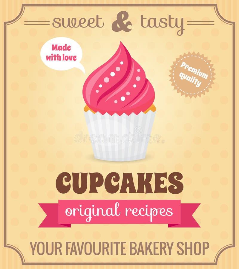 Αναδρομική αφίσα Cupcake ελεύθερη απεικόνιση δικαιώματος