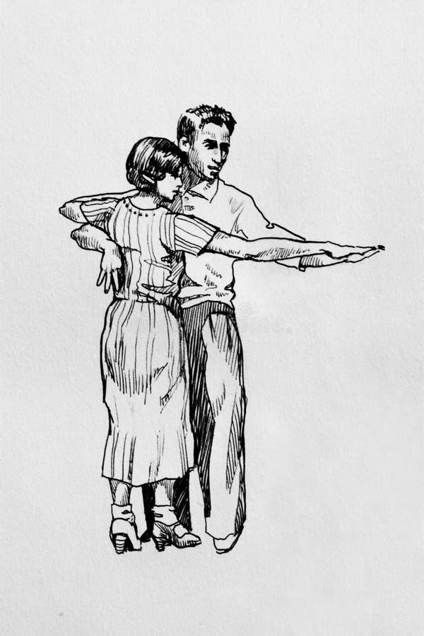 Αναδρομική γραφική μάνδρα χορευτών σε χαρτί ελεύθερη απεικόνιση δικαιώματος