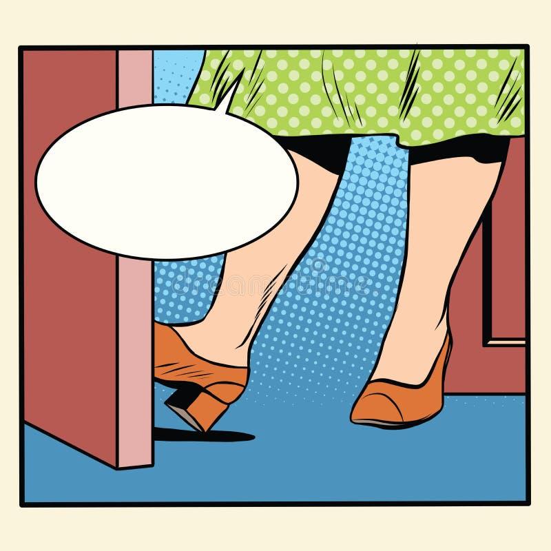 Αναδρομική γυναίκα που κρατά την πόρτα ανοικτή ελεύθερη απεικόνιση δικαιώματος
