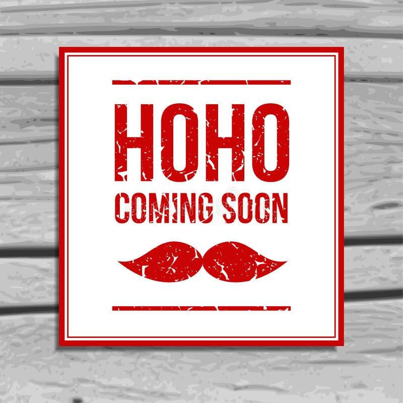 Αναδρομική ευχετήρια κάρτα Χριστουγέννων με το santa moustache διανυσματική απεικόνιση