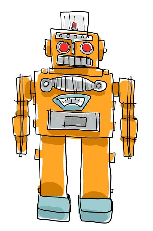 Αναδρομική ζωγραφική παιδιών παιχνιδιών ρομπότ απεικόνιση αποθεμάτων