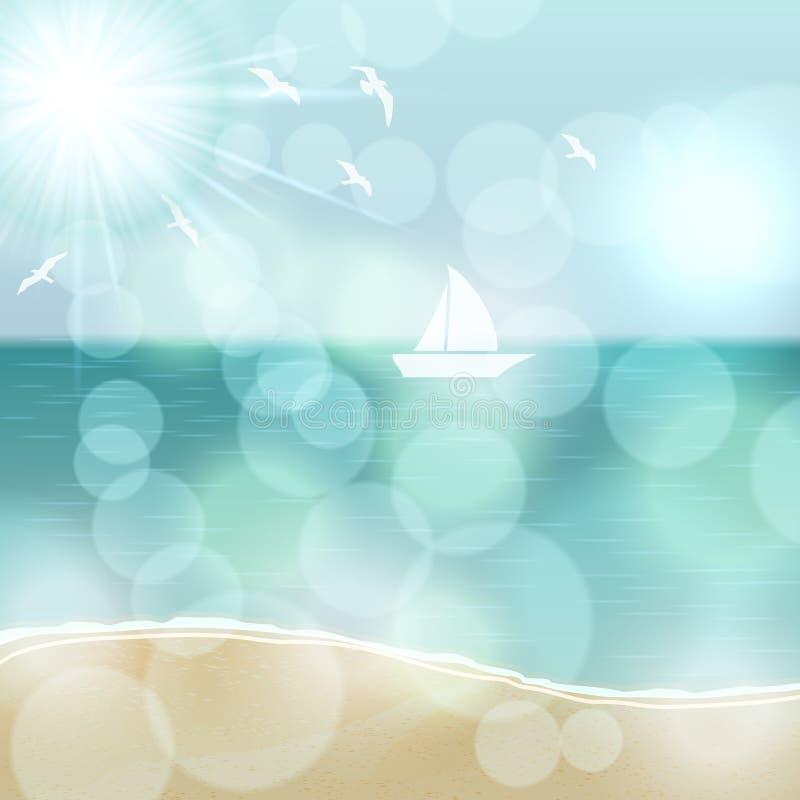 Αναδρομική θερινή απεικόνιση με τον ωκεανό και το γιοτ διανυσματική απεικόνιση