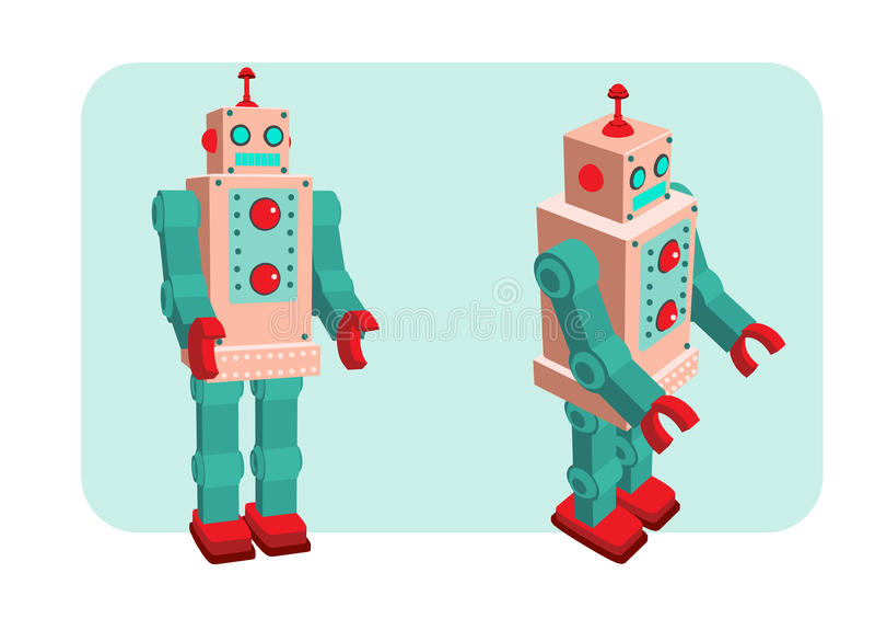Αναδρομική διανυσματική απεικόνιση ρομπότ διανυσματική απεικόνιση