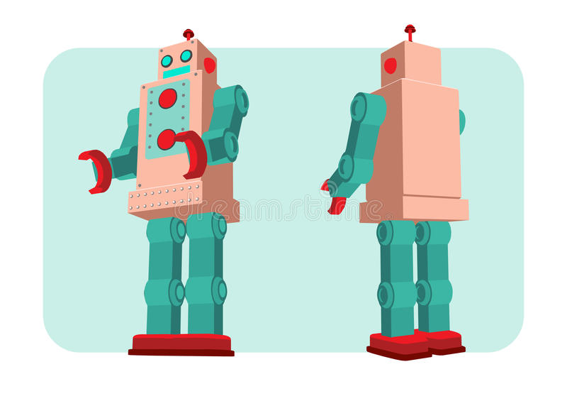 Αναδρομική διανυσματική απεικόνιση ρομπότ ελεύθερη απεικόνιση δικαιώματος