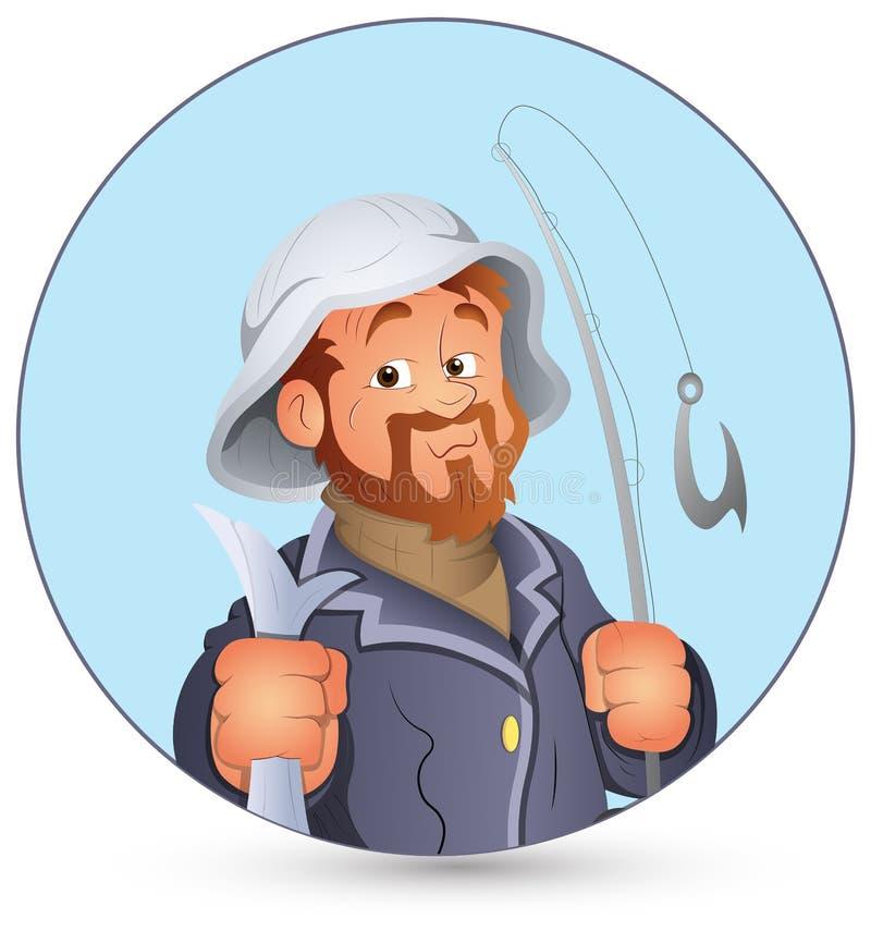 Αναδρομική διανυσματική απεικόνιση ψαράδων ελεύθερη απεικόνιση δικαιώματος
