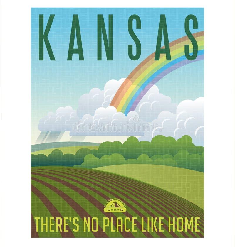 Αναδρομική διευκρινισμένη αφίσα ταξιδιού για κατάσταση του Κάνσας, Ηνωμένες Πολιτείες απεικόνιση αποθεμάτων
