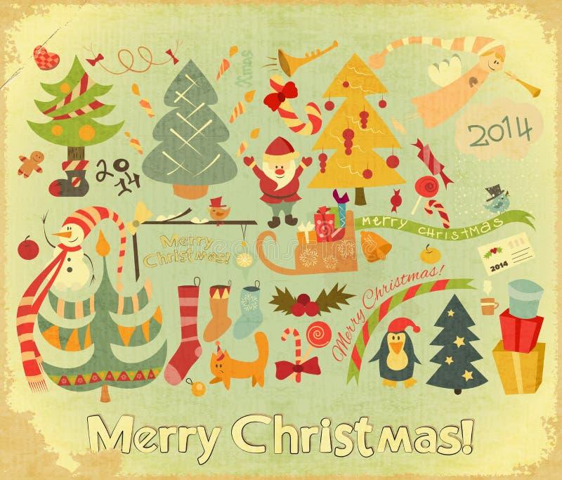Αναδρομική κάρτα Χαρούμενα Χριστούγεννας ελεύθερη απεικόνιση δικαιώματος