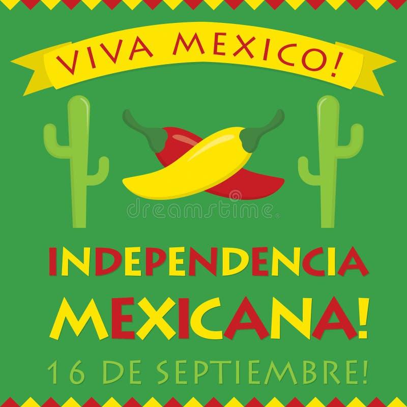 Αναδρομική κάρτα Independencia Mexicana ύφους διανυσματική απεικόνιση