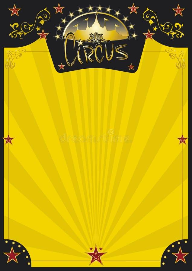 Αναδρομική κίτρινη αφίσα τσίρκων απεικόνιση αποθεμάτων