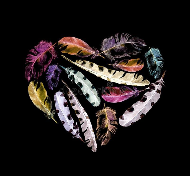 Αναδρομική καρδιά - φτερά πουλιών Εκλεκτής ποιότητας watercolor στο μαύρο υπόβαθρο για την ημέρα βαλεντίνων στοκ φωτογραφία