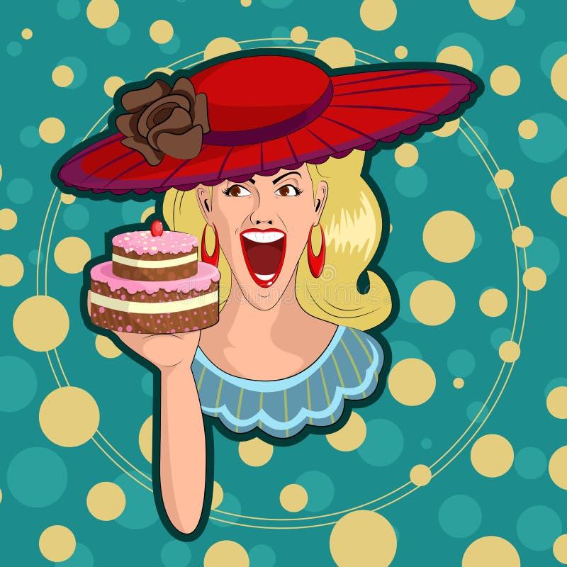 Αναδρομική κυρία με το κέικ ελεύθερη απεικόνιση δικαιώματος