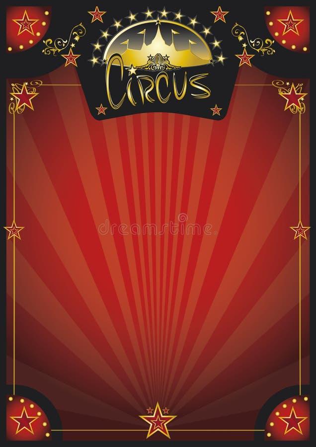 Αναδρομική κόκκινη αφίσα τσίρκων απεικόνιση αποθεμάτων