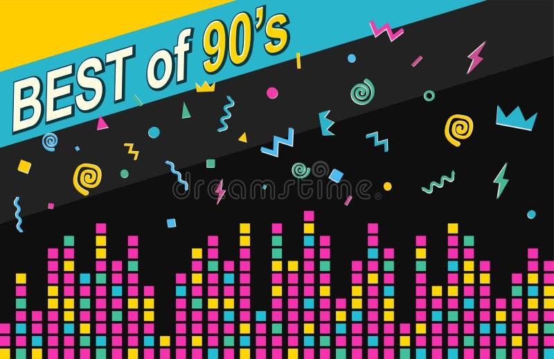 Αναδρομική μουσική αφίσα, το καλύτερο της δεκαετίας του '90 διανυσματική απεικόνιση