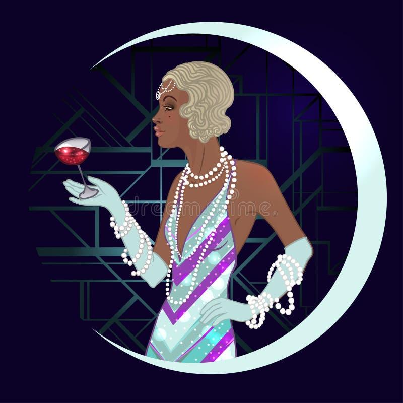 Αναδρομική μόδα: κορίτσι γοητείας της γυναίκας αφροαμερικάνων δεκαετιών του '20 απεικόνιση αποθεμάτων