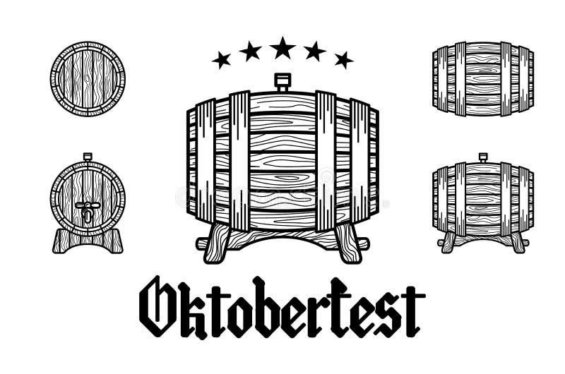 Αναδρομική ορισμένη σφραγίδα με το βαρέλι μπύρας, την κούπα και τη διανυσματική απεικόνιση Oktoberfest φεστιβάλ μπύρας κειμένων ελεύθερη απεικόνιση δικαιώματος