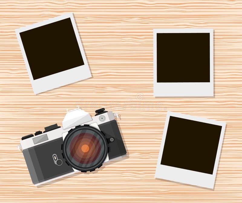 Αναδρομική παλαιά κάμερα και στιγμιαία πλαίσια φωτογραφιών διανυσματική απεικόνιση