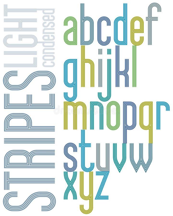 Αναδρομική πηγή αφισών με τα τριπλά λωρίδες, φωτεινά συμπυκνωμένα lowercas ελεύθερη απεικόνιση δικαιώματος