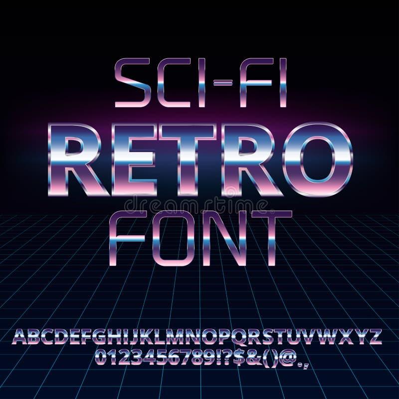 Αναδρομική πηγή του Sci Fi διανυσματική απεικόνιση