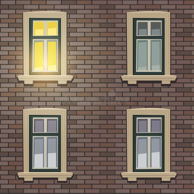 Αναδρομική πρόσοψη οικοδόμησης στη νύχτα ελεύθερη απεικόνιση δικαιώματος