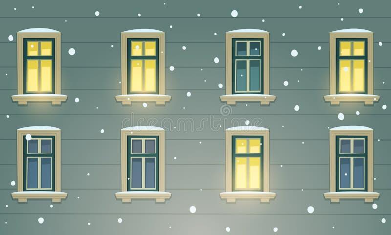 Αναδρομική πρόσοψη οικοδόμησης στη χειμερινή νύχτα ελεύθερη απεικόνιση δικαιώματος