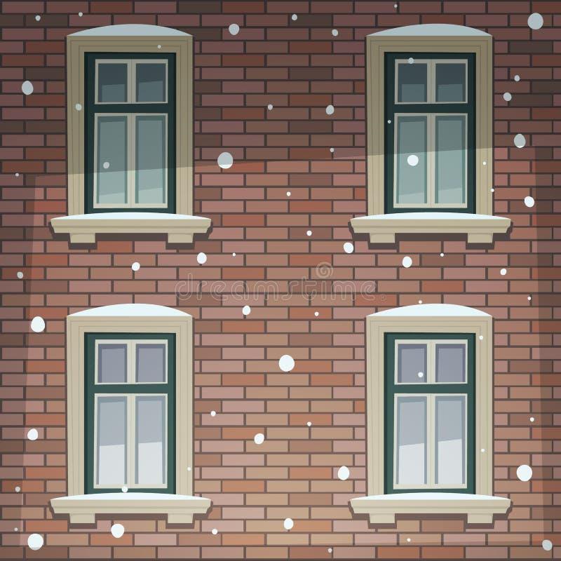 Αναδρομική πρόσοψη οικοδόμησης στο χειμώνα διανυσματική απεικόνιση