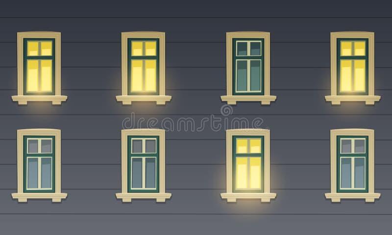 Αναδρομική πρόσοψη οικοδόμησης τη νύχτα απεικόνιση αποθεμάτων