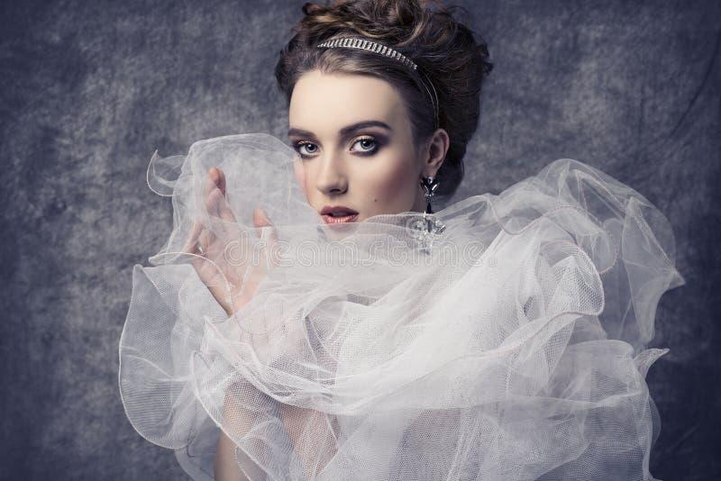 Αναδρομική ρομαντική κυρία στοκ εικόνες