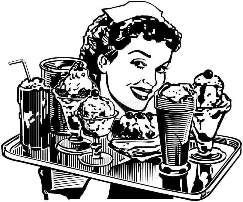 Αναδρομική σερβιτόρα γευματιζόντων διανυσματική απεικόνιση