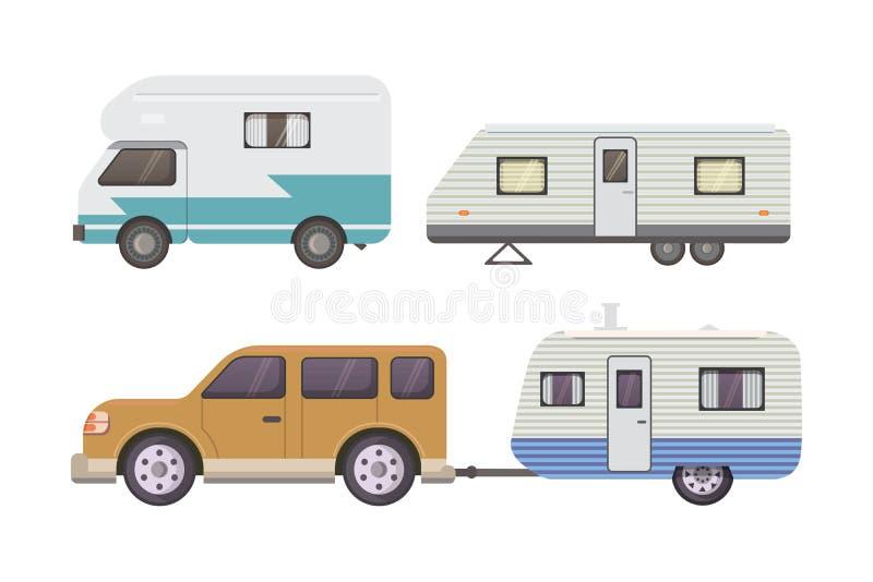 Αναδρομική συλλογή ρυμουλκών τροχόσπιτων τροχόσπιτο ρυμουλκών αυτοκινήτων Τουρισμός ελεύθερη απεικόνιση δικαιώματος