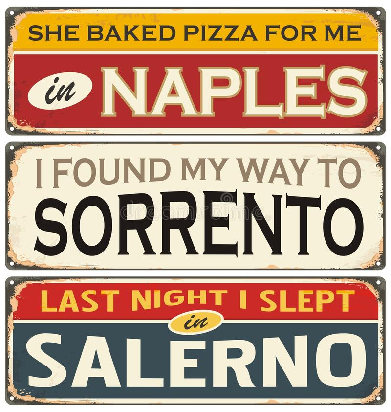 Αναδρομική συλλογή σημαδιών κασσίτερου με τα ιταλικά ονόματα πόλεων διανυσματική απεικόνιση