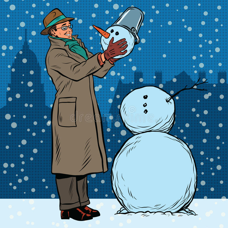 Αναδρομικοί άτομο και χιονάνθρωπος ελεύθερη απεικόνιση δικαιώματος