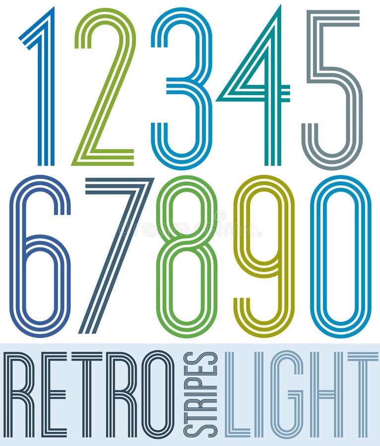 Αναδρομικοί ελαφριοί ζωηρόχρωμοι αριθμοί αφισών με τα λωρίδες στο άσπρο backgr διανυσματική απεικόνιση