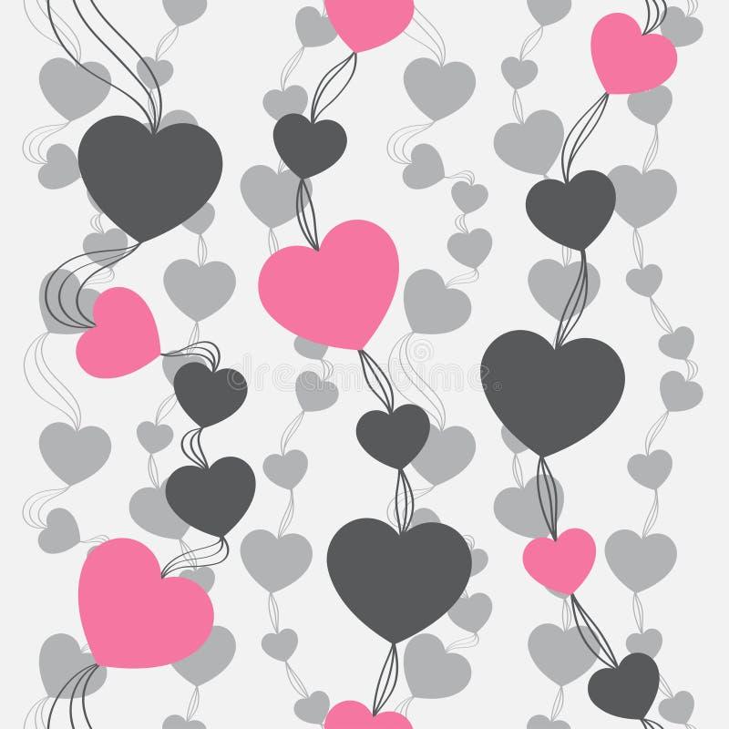 αναδρομικός άνευ ραφής προτύπων Ρόδινα καρδιές και σημεία στο μπεζ υπόβαθρο διανυσματική απεικόνιση