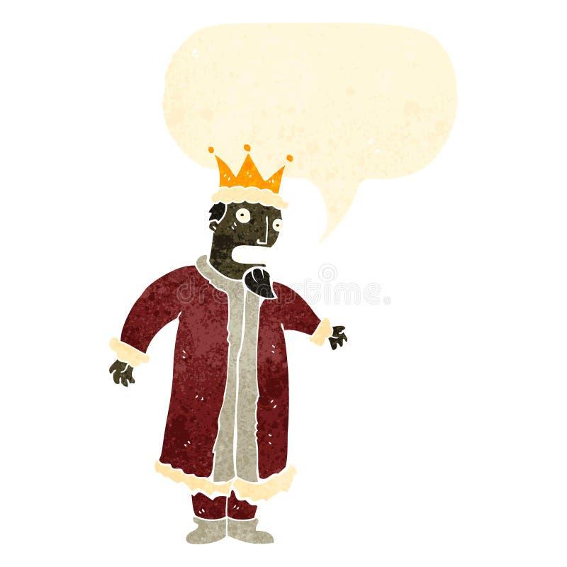 αναδρομικός βασιλιάς κινούμενων σχεδίων με τη λεκτική φυσαλίδα απεικόνιση αποθεμάτων
