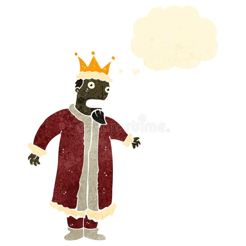 αναδρομικός βασιλιάς κινούμενων σχεδίων με τη σκεπτόμενη φυσαλίδα ελεύθερη απεικόνιση δικαιώματος