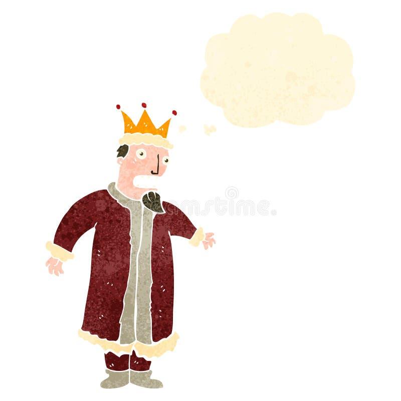 αναδρομικός βασιλιάς κινούμενων σχεδίων με τη σκεπτόμενη φυσαλίδα διανυσματική απεικόνιση